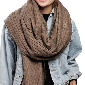 Taupe Pleats Oblong Scarf